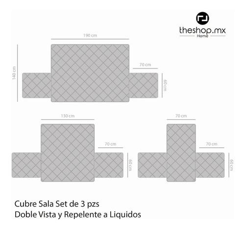 cubre sala protector sillon pack 3 pzs doble vista repelente