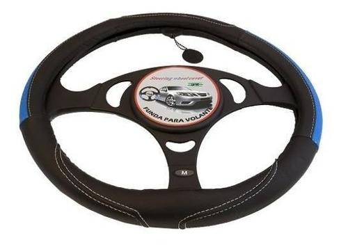 cubre volante auto negro con insertos azules 38 cm