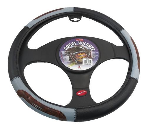 cubre volante auto negro efecto madera 38 cm