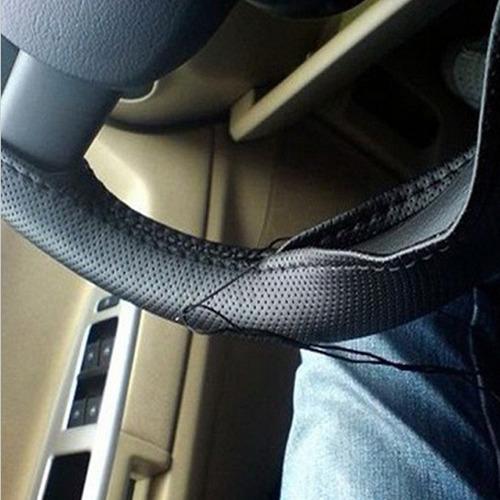 cubre volante manubrio cuero sintetico hilo negro