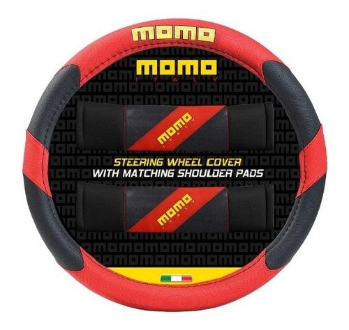 cubre volante momo 005 negro y rojo + cubre cinturon
