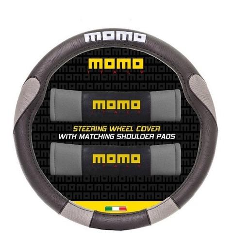 cubre volante momo 006 negro y gris + cubre cinturon