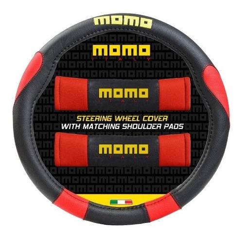 cubre volante momo 006 negro y rojo + cubre cinturon