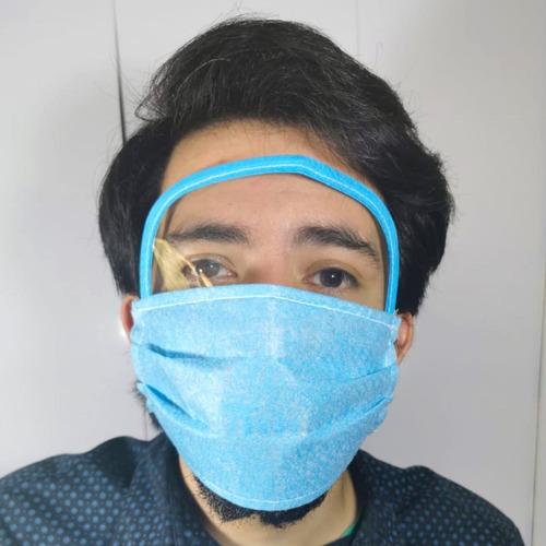 cubreboca visor facial careta reusable lavable 3 pliegues