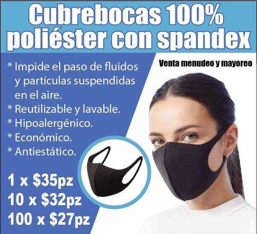 cubrebocas 100% poliéster con spandex