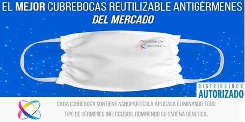 cubrebocas 100% reutilizable con nanomolecula nbelyax 10 pzs