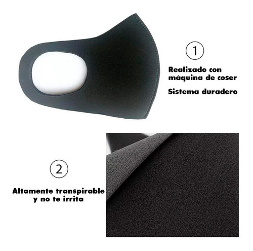 cubrebocas de tela lavable reusable negro y varios colores