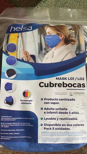 cubrebocas helsa paquete con 5 piezas. reusable.