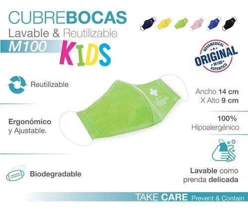 cubrebocas infantil 3 capas polipropileno reutilizable m100