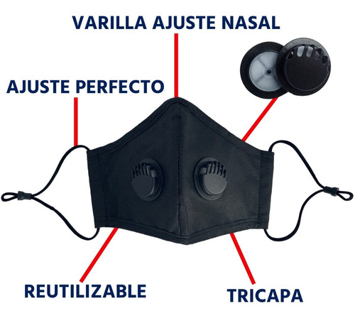cubrebocas n95 lavable filtro reusable valvula tapaboca