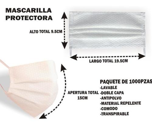 cubrebocas plisado doble capa, paquete de 1000pzas tapabocas