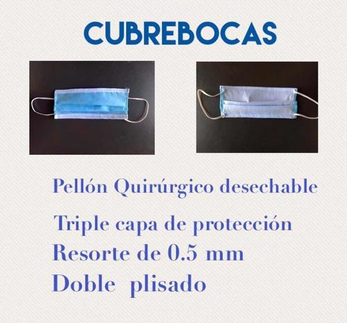 cubrebocas  quirurgico desechable (3 capas) $500