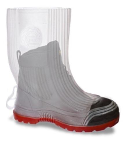cubrecalzado tipo bota de hule transparente suela roja cc