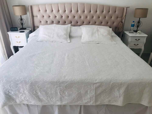cubrecama cover blanco arredo + almohadones 2 pl. impecable