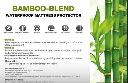 cubrecolchon de bambú impermeable