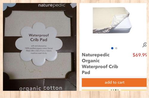 cubrecolchón impermeable para cuna 100% algodón orgánico