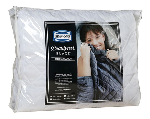 cubrecolchón simmons beautyrest black 1 plaza 200x90