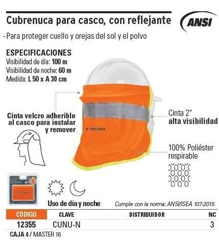 cubrenuca para casco con reflejante truper 12355