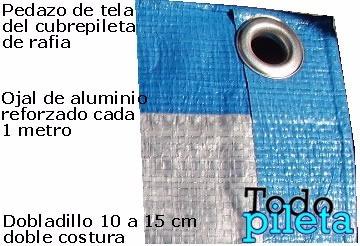 cubrepileta cobertor 390x790 rafia 150 gramos 24 ojales azul
