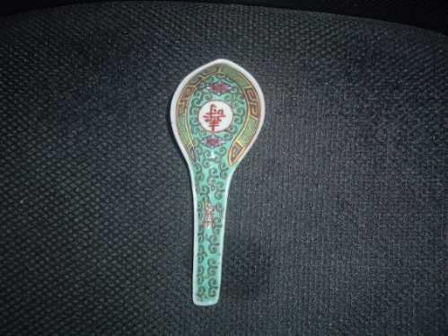 cuchara adorno antiguo porcelana china en la plata