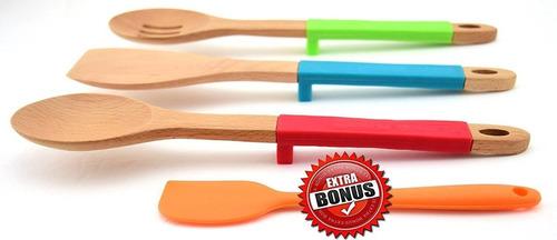 cucharas de madera para cocinar con cuchara e + envio gratis