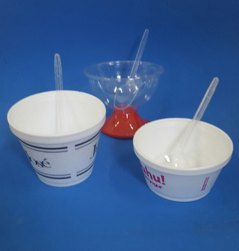 cucharas de postre plásticas cristal / blanco (x 50 unid)