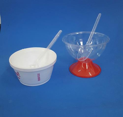 cucharas descartables plásticas cristal / blanco (x 100 un)