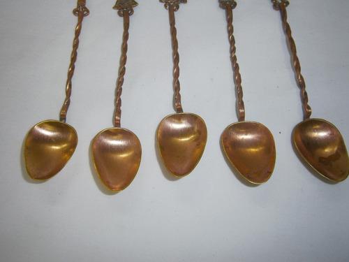 cucharas en cobre x 5 motivos precolombinos precio x c/u
