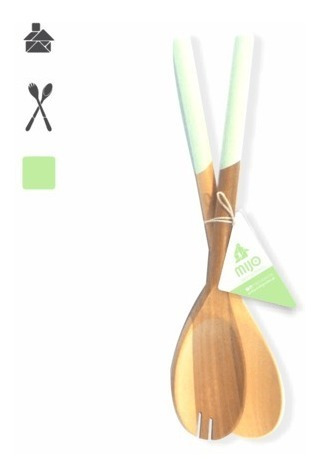 cucharas para ensaladas x2 madera colores