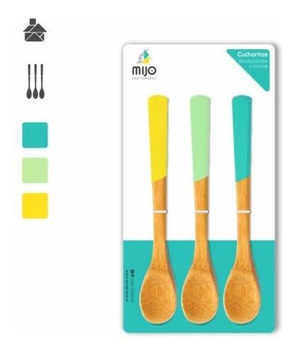 cucharitas untadores set x3 madera colores