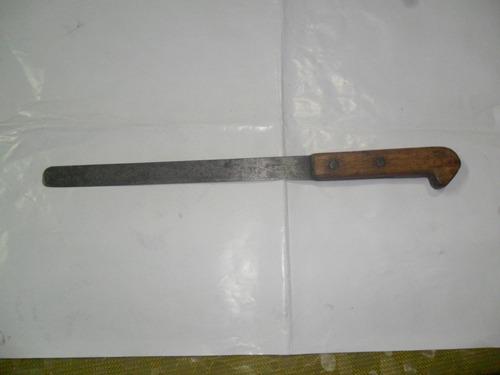 cuchilla cuchillo pan cubierto acero madera cuchilleria