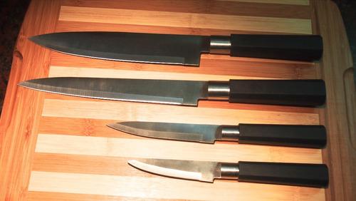 cuchillas - juego de 4 cuchillas en acero inoxidable