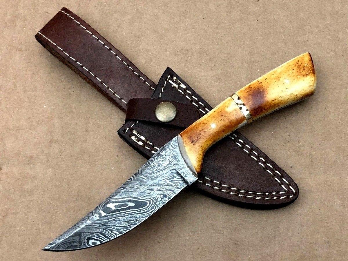 cuchillo acero damasco de caza skinner hueso camello 22 cm. Cargando zoom. 358602e3fa82