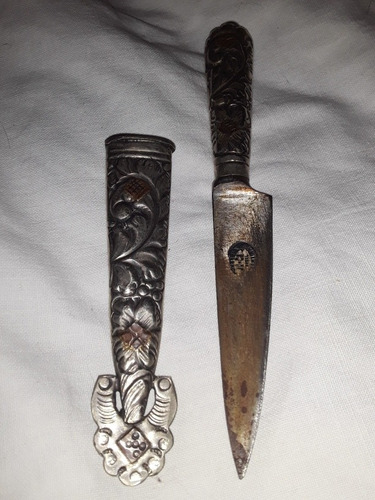 cuchillo antiguo verijero mini ju-ca c/ vaina alpaca