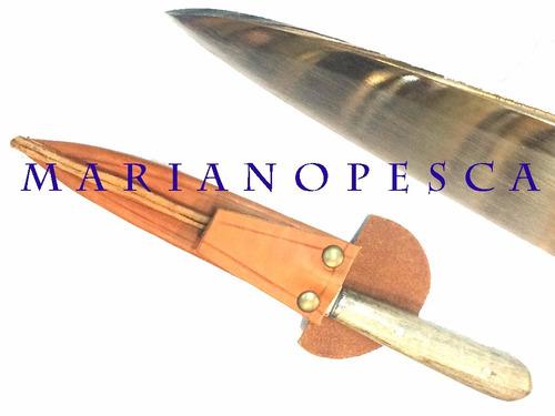 cuchillo artesanal acero inoxidable 420 parrillero con funda