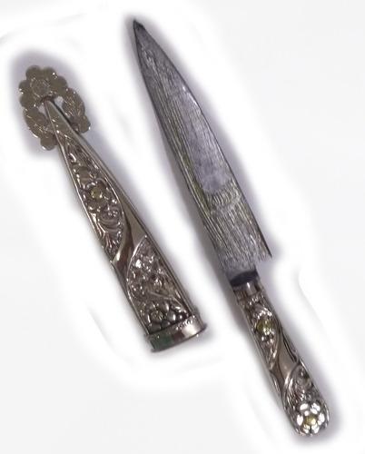 cuchillo artesanal facon cincelado alpaca hoja acero 14 cm
