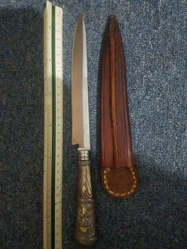 cuchillo criollo plata y oro