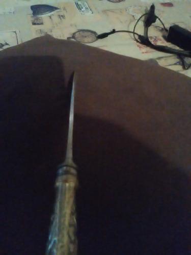 cuchillo criollo..cabo y vaina plata y oro..16cm de hoja