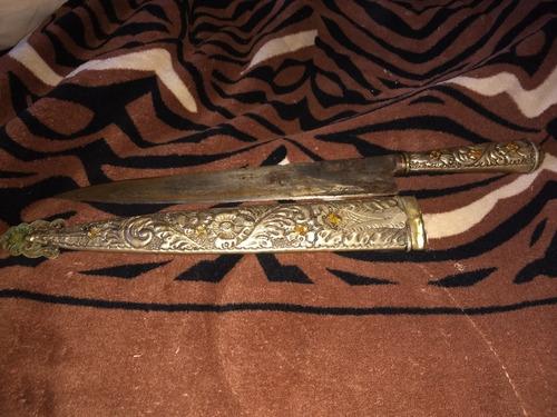 cuchillo de alpaca antiguo de 45cm