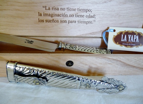 cuchillo de alpaca criollo & caja premium - hoja 18 cm