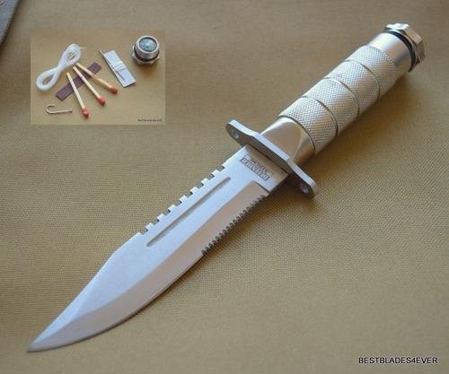 cuchillo de caceria con funda y accesorios de supervivencia