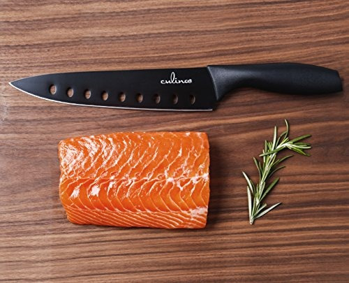 cuchillo de sushi culina antiadherente con funda negro 8 in