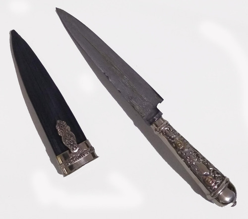 cuchillo facon cuero alpaca hoja acero chaja criollo .-