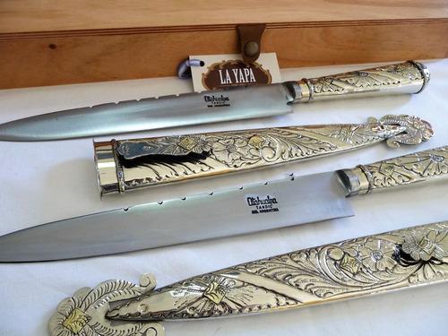 cuchillo facón de alpaca criollo & baño de plata. hoja 28 cm