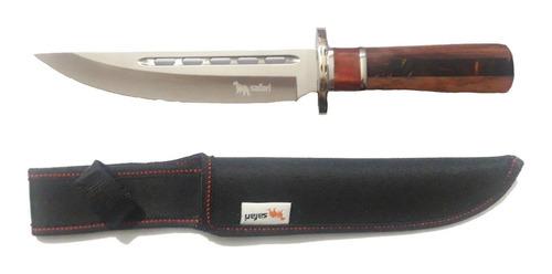 cuchillo hoja fija satinada mango madera y resina