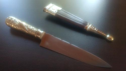 cuchillo picaso 14cm. cabo de alpaca y vaina con cuero