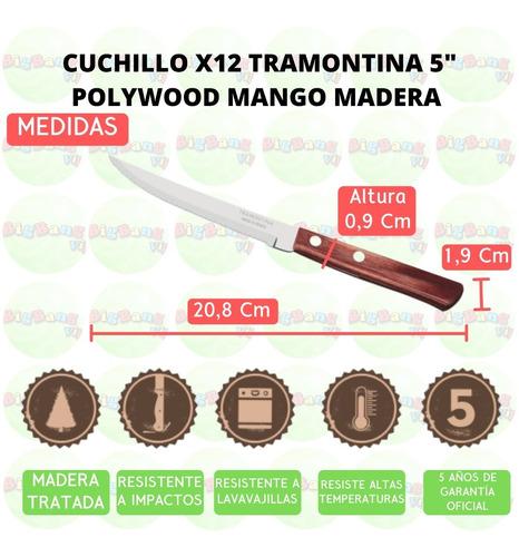 cuchillo polywood recto x12 tramontina mango madera acero