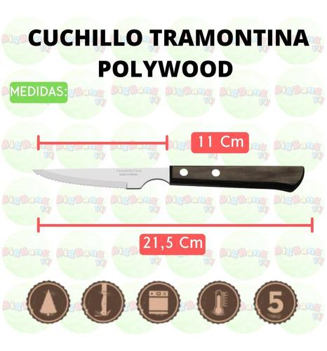 cuchillo polywood x6 tramontina acero madera cubiertos