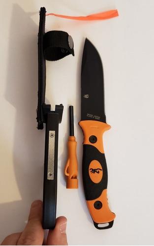 cuchillo puñal browning estuche silbato fuego pedernal
