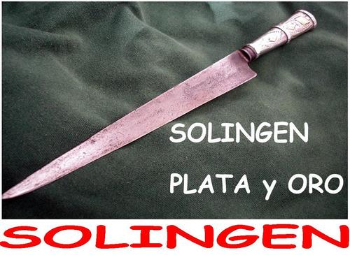 cuchillo sello raro solingen plata y oro plateria criolla